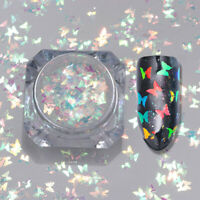 Iridescent Butterfly Nail Art Flake Glitter Sequins Sparkle UV Gel Tips Manicure