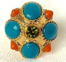 J CREW Gold Turquoise Coral Stone Moroccan Cocktail Ring $65 Sz Large 8 / 8.5