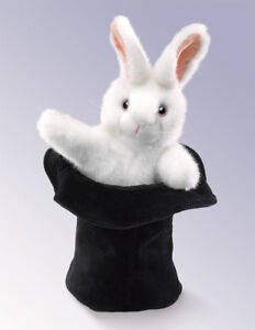 NEW PLUSH SOFT TOY Folkmanis 2269 Rabbit In The Hat Hand Puppet