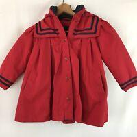 London Fog Sailor Fur Lined Red Navy Blue Toddler  Hooded Girls Dress Coat L 4T