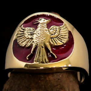 ROUND MENS BRASS COSTUME BIKER RING ANCIENT HOLY FIREBIRD GARUDA RED SIZE 12