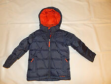 LL BEAN Down Hooded Puffer Coat Jacket Boy's Size 5 6 Navy / Gray NICE!