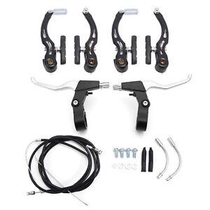 BMX Mountain Bike V Brakes Set Black Levers Cables (Front+Rear)