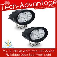 2 X 12V/24V 20W COMPACT BLACK FLOOD BOAT/FLYBRIDGE/FISHING LED SPOT WORK LIGHT
