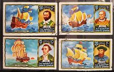 Set Of 4 World Used STAMPS Famous Explorers & SHIPS - Cook Drake Magellan DaGama