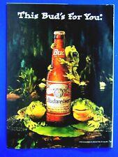 "Budweiser Frogs 1995 Regional Original Print Ad 8.5 x 11"""