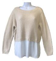 TRENDY Women's UK 14 Soft Cotton Knit Oatmeal Beige Jumper Sweater Top Blogger