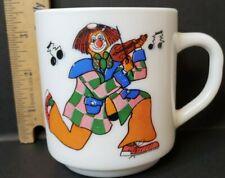 Vtg Arcopal Mug Fiddling juggling Clowns Milk Glass Coffee Tea Cup 8 oz France