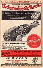1940 (Sep. 22) Baseball Program, Chicago White Sox @ St. Louis Browns, scored