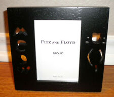 "Fitz and Floyd FF Meow Kitty Cat Black Picture Photo Wood Frame 3.5"" x 5"" NIB"