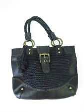 Isabella Fiore Black Woven Leather Purse Tote with Dust Bag Large