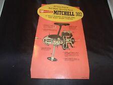 "Vintage Garcia Mitchell 302 Reel Cardboard Display , 6-1/2"" x 10"""
