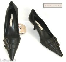 PURA LOPEZ - SHOES HIGH-HEEL END END ALL BROWN LEATHER 36 C - MINT