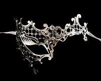 Maschera Di Venezia Lupo Fantasia Veneziana Pizzo Di Metallo Argento Strass 1260
