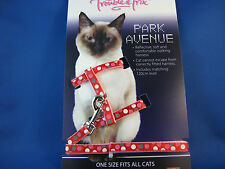 Cat Harness and Lead Set - Red Circle Pattern - Reflective