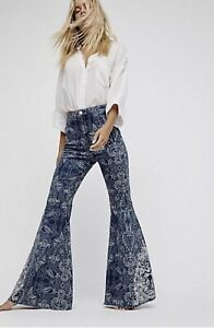 Free People Jeans Printed Extreme Flare Stretch Embroidered Bali Print 25 NEW
