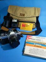 Canon AE-1 SLR Camera with Lens, Flash, Tenba Equa Shoulder Bag - Untested
