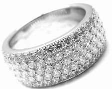 Rare! Authentic CARTIER 18k White Gold Diamond Band Ring Size 53 US 6 1/4