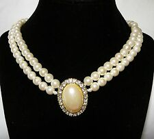 Two Strand White Faux Pearl Necklace with Faux Pearl Pendant/Clear Rhinestones