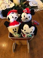 Hallmark Itty Bittys Mickey Minnie Goofy Pluto SLED Sleigh Christmas Holiday Set