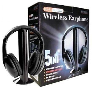 AURICULARES INALAMBRICOS 5 EN 1 30M RADIO FM TV PC MP3 RF HIFI SONIDO DIGITAL