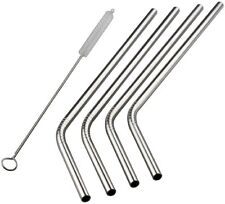 Chuzy Chef Stainless Steel Straws Set of 4, Free Cleaning Brush