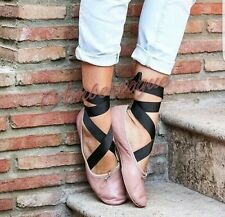 ZARA NUDE REAL LEATHER ANKLE LACE UP BALLERINAS FLATS UK 6 EURO 39