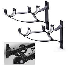 2pcs Heavy Metal Double Curtain Rod Poles Drapery Bracket Holder fit 25mm Drape