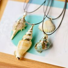 Womens Hollow Natural Screw Shell Pearl Pendant Necklace Long Chain Jewellery