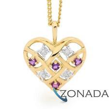 Heart Amethyst Diamond 9ct 9k Solid Yellow Gold Pendant 64747/AM