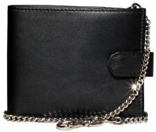Gents Wallet with Security Chain Soft Smooth Sheep Nappa Leather Black
