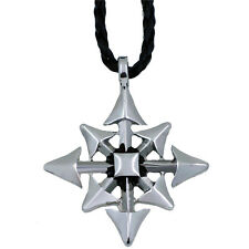 """Men Boy Silver Gothic Magic Chaos Star Pewter Pendant with 20"""" Choker Necklace"""