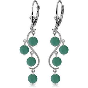 Genuine Emerald Gems Chandelier Leverback Earrings 14K. White, Yellow, Rose Gold