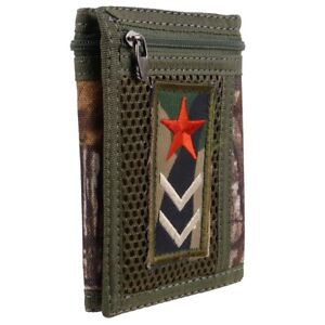 Camo Mens Boys Tri-Fold Canvas Sports Wallet Cards Red Star
