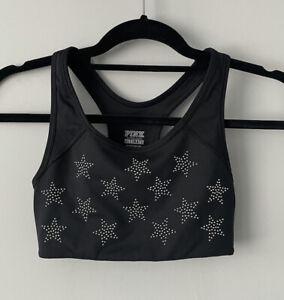 Pink Victoria's Secret Ultimate Studded Stars Black Silver Sports Bra Size XS