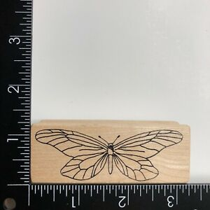 Magenta Butterfly Wood Mounted Rubber Stamp I0027