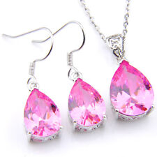 Wholesale Set 2 pcs Natural Pink Fire Topaz Gems Silver Drop Pendants Earrings