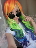 My Little Pony Cosplay Party Dash Wigs Rainbow Color Hair Full Long Wavy Curly