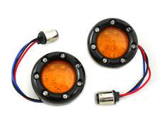 Black LED Turn Signal Bezel with Amber Lens For Harley-Davidson