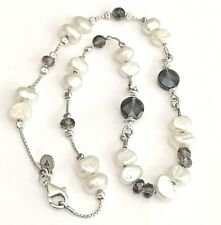 SILPADA .925 Sterling Silver Freshwater Pearl Smoky Quartz Chain Necklace N1040