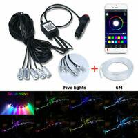 RGB 5LED Car Interior Door Dash Ambient Light 6m Neon Strip Bluetooth Phone APP