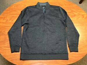 MENS USED LIGHTLY WORN UNDER ARMOUR BLACK 1/4 ZIP ATHLETIC PULLOVER SIZE LARGE