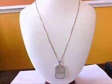 Beautiful Vintage 14K WG Small Diamond Stone Filigree Rectangular Pendant.
