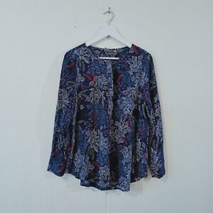 Sussan Women Top Navy Multicoloued Shirt Long Sleeve Size 14