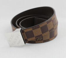 Louis Vuitton Auth Brown Damier Ebene LV Paris Silver Buckle Belt Size 40 100