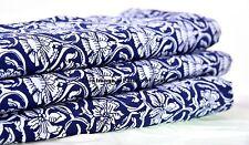5 Yard Indian Cotton Fabric Indigo Blue Floral Hand Screen Print Crafting Fabric
