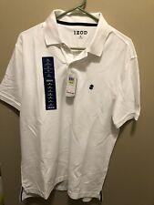 IZOD Men's Size Medium Advantage Performance Solid Polo White Short Sleeve Shirt