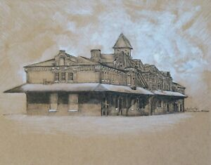 Train Station Saginaw Michigan Architecture Drawing - ACEO Print 2 of 10