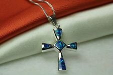 SMALL HOLY CROSS OPAL INLAY NECKLACE PENDANT 925 STERLING SILVER~OP16~BLMM