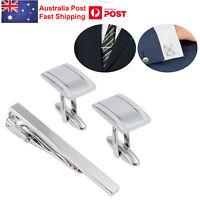 Pair Mens Business Wedding Shirt Cufflinks and Necktie Tie Clip Pin Clasp Set
